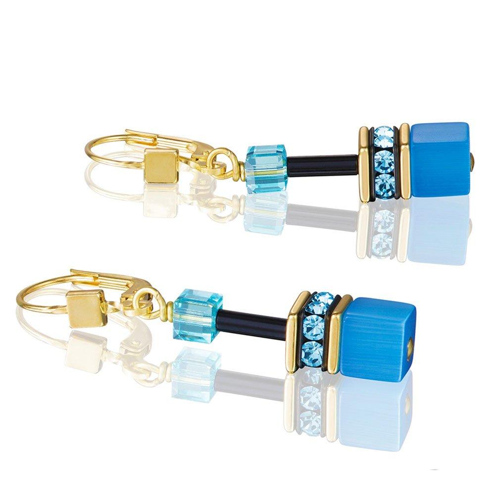 Coeur De Lion GeoCube Gold Plated Crystal Earrings