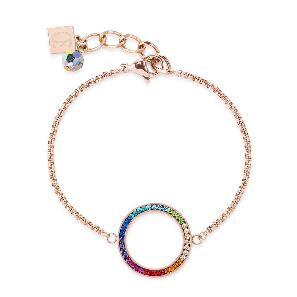 Coeur De Lion Rose Gold Plated Multi-Colour Crystal Bracelet