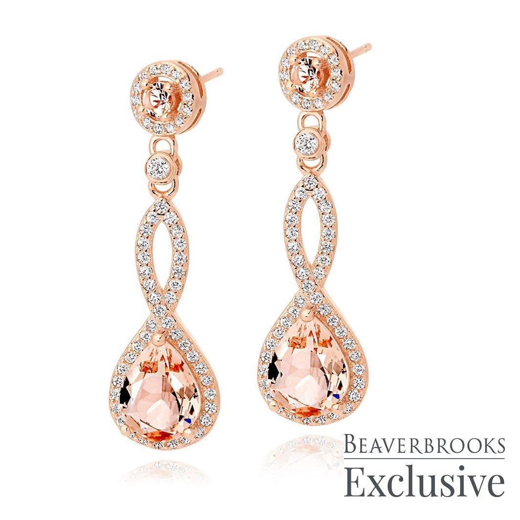 Rose Gold Plated Silver Peach Cubic Zirconia Drop Earrings