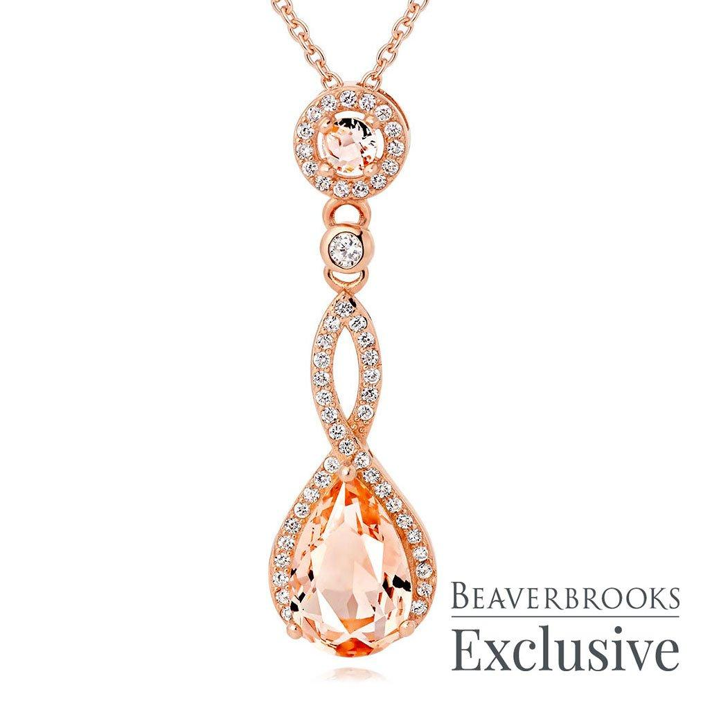 Rose Gold Plated Silver Peach Cubic Zirconia Pendant