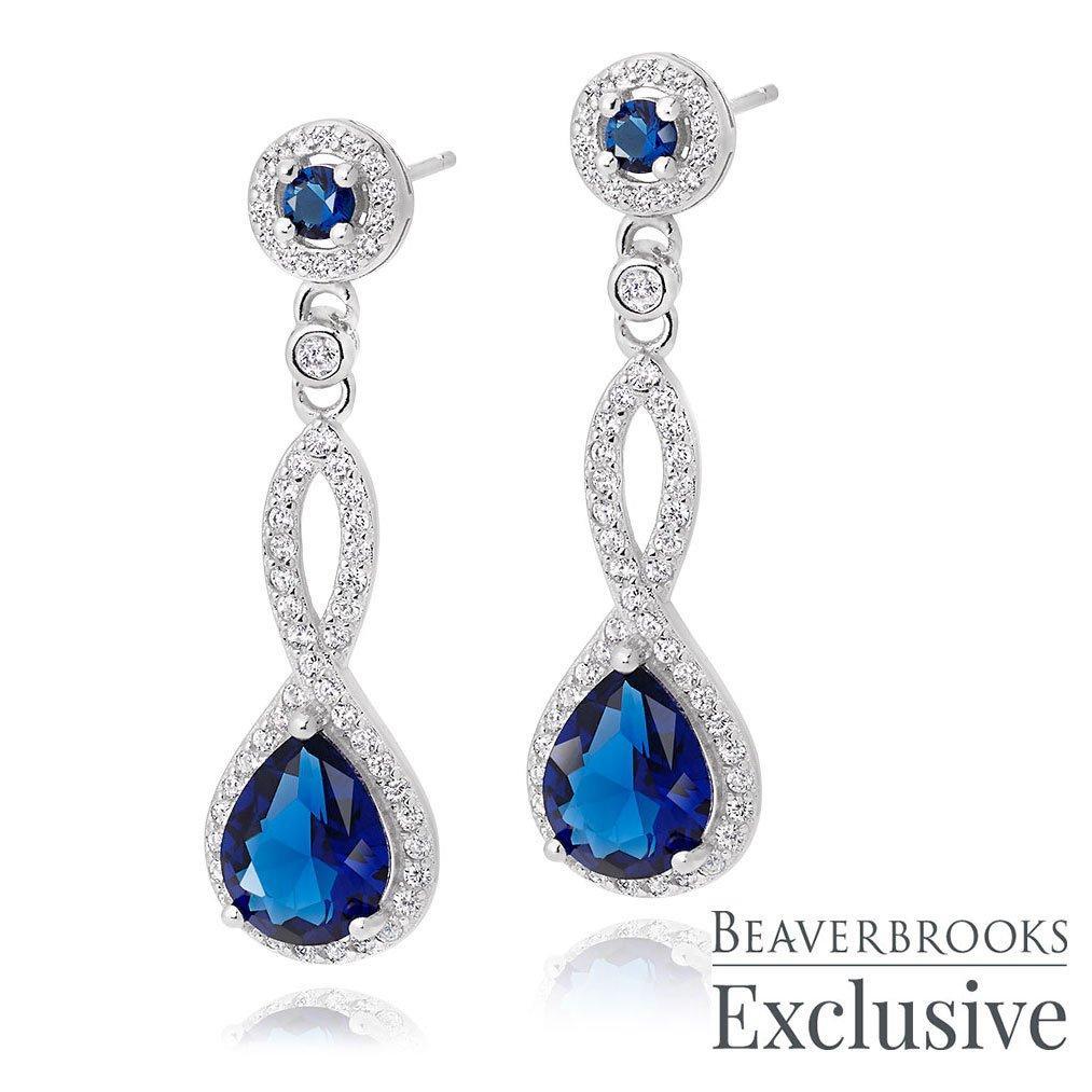 Silver Blue Cubic Zirconia Drop Earrings
