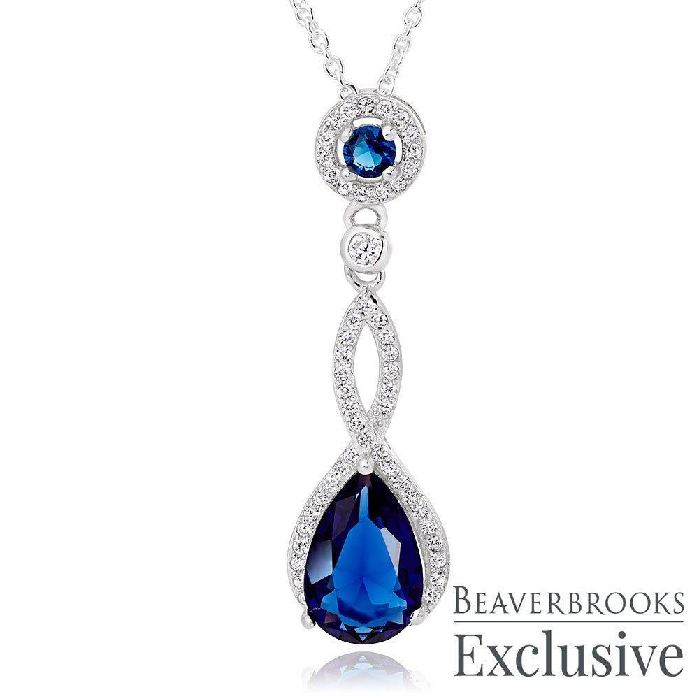 Silver Blue Cubic Zirconia Drop Pendant