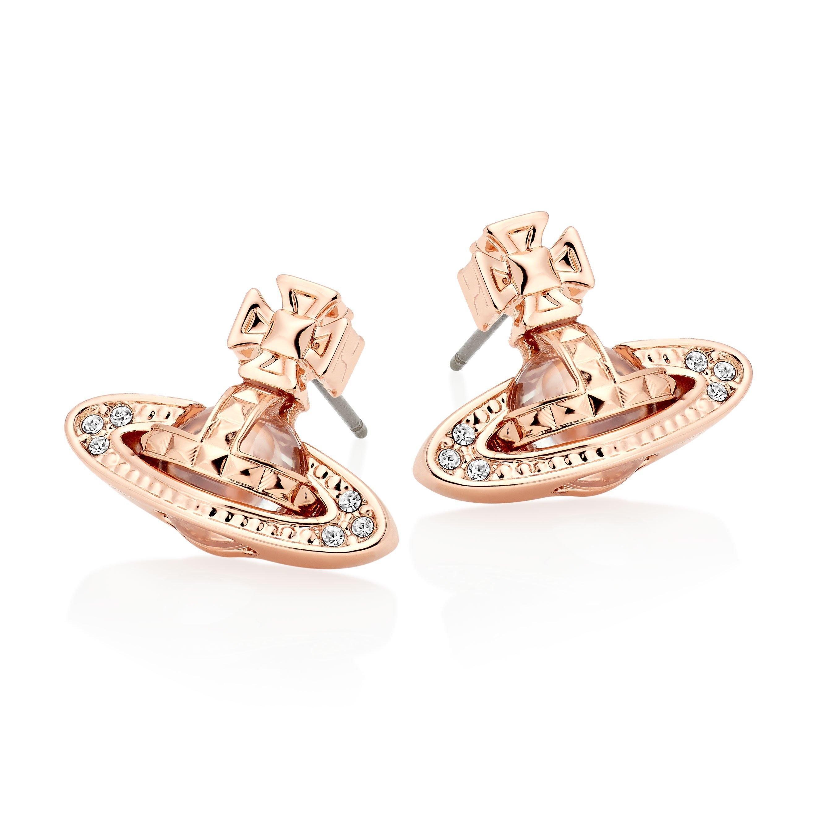 Vivienne Westwood Pina Bas Relief Rose Gold Tone Orb Earrings