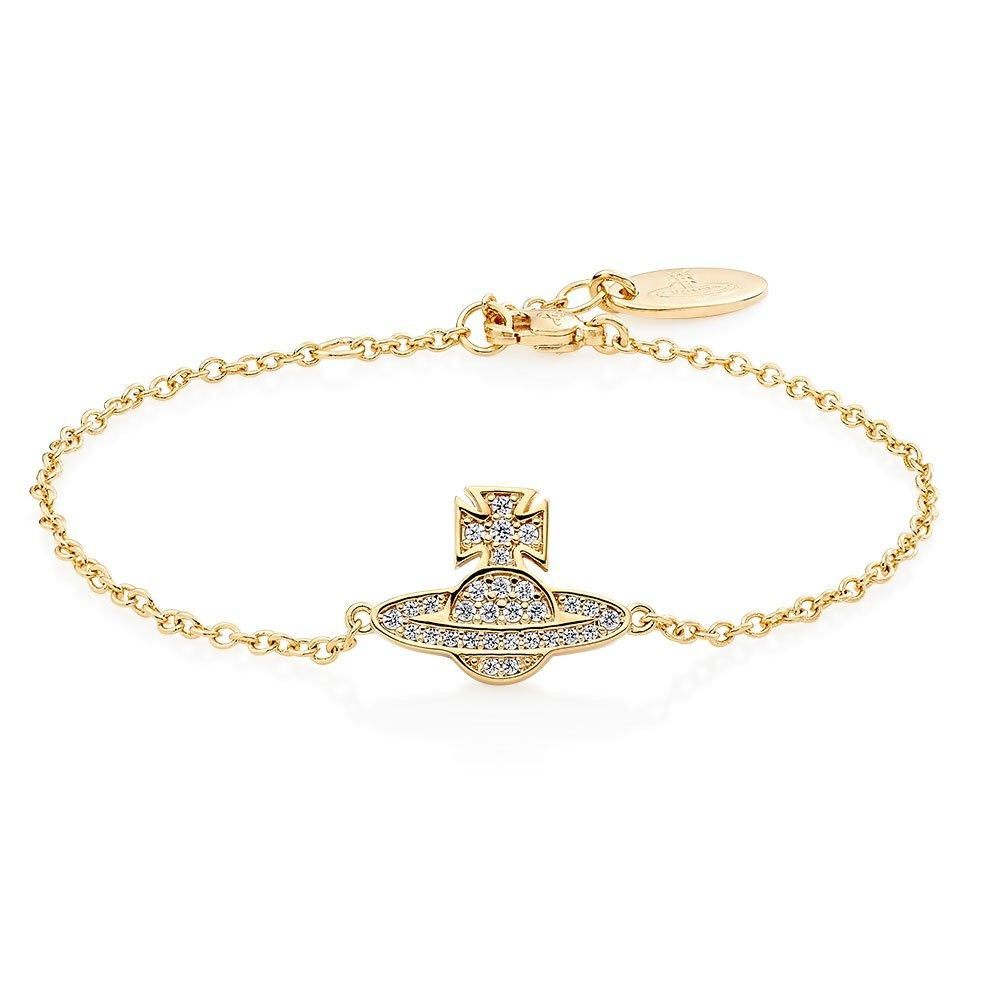 Vivienne Westwood Romina Gold Tone Cubic Zirconia Orb Bracelet