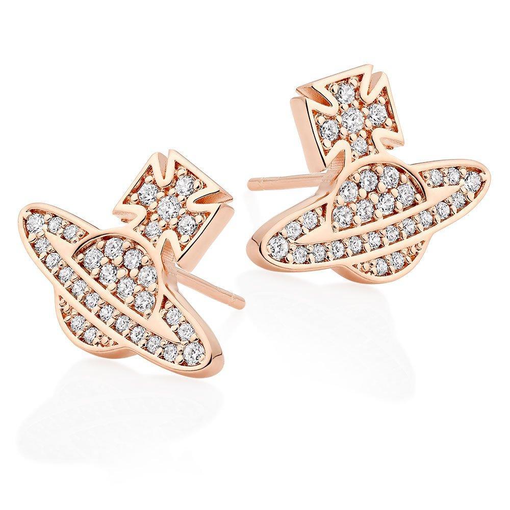 Vivienne Westwood Romina Rose Gold Tone Cubic Zirconia Orb Earrings