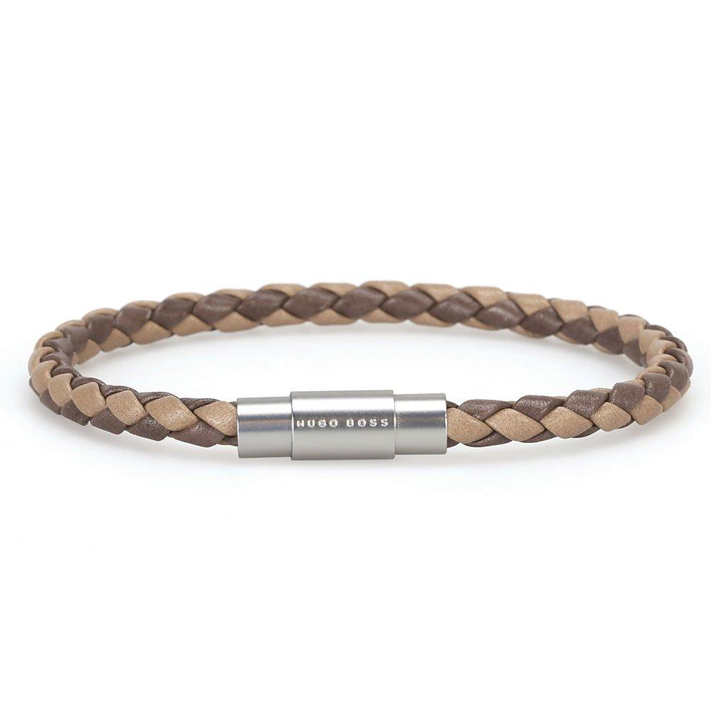 BOSS Two Tone Leather Men's Bracelet