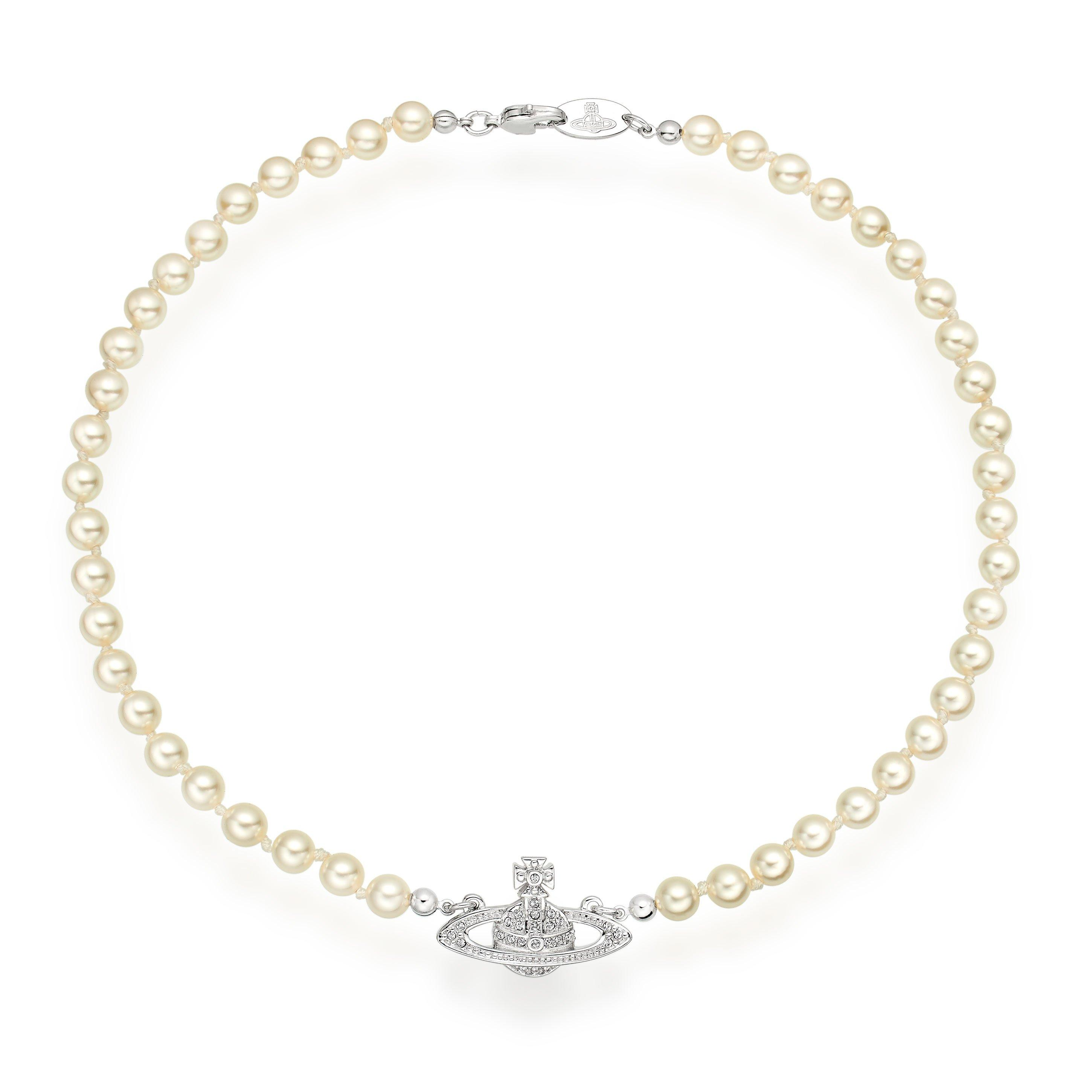 Vivienne Westwood Diamante Orb Pearl Necklace