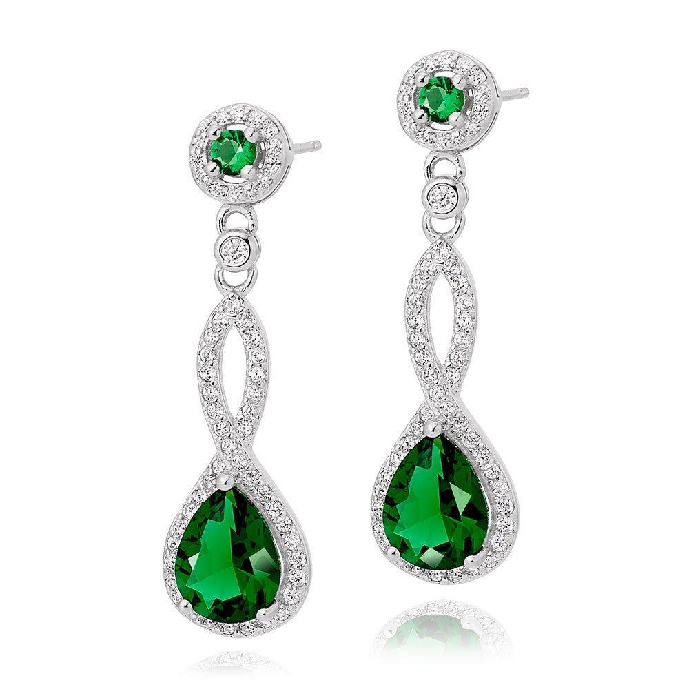 Silver Green Cubic Zirconia Drop Earrings