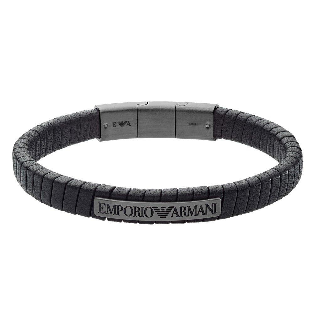 Emporio Armani Black Leather Men's Bracelet