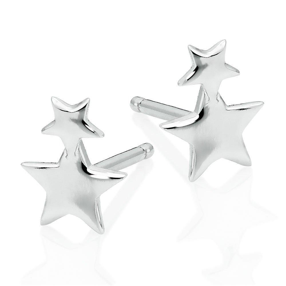Silver Double Star Stud Earrings