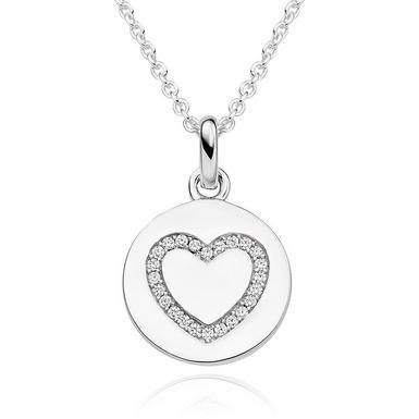Silver Cubic Zirconia Heart Disc Pendant