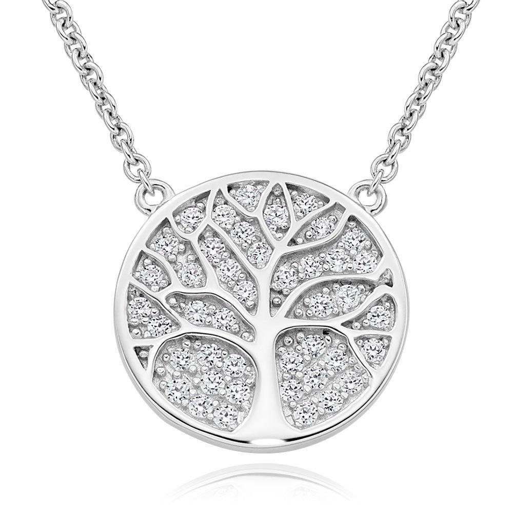 Silver Cubic Zirconia Tree Disc Necklace