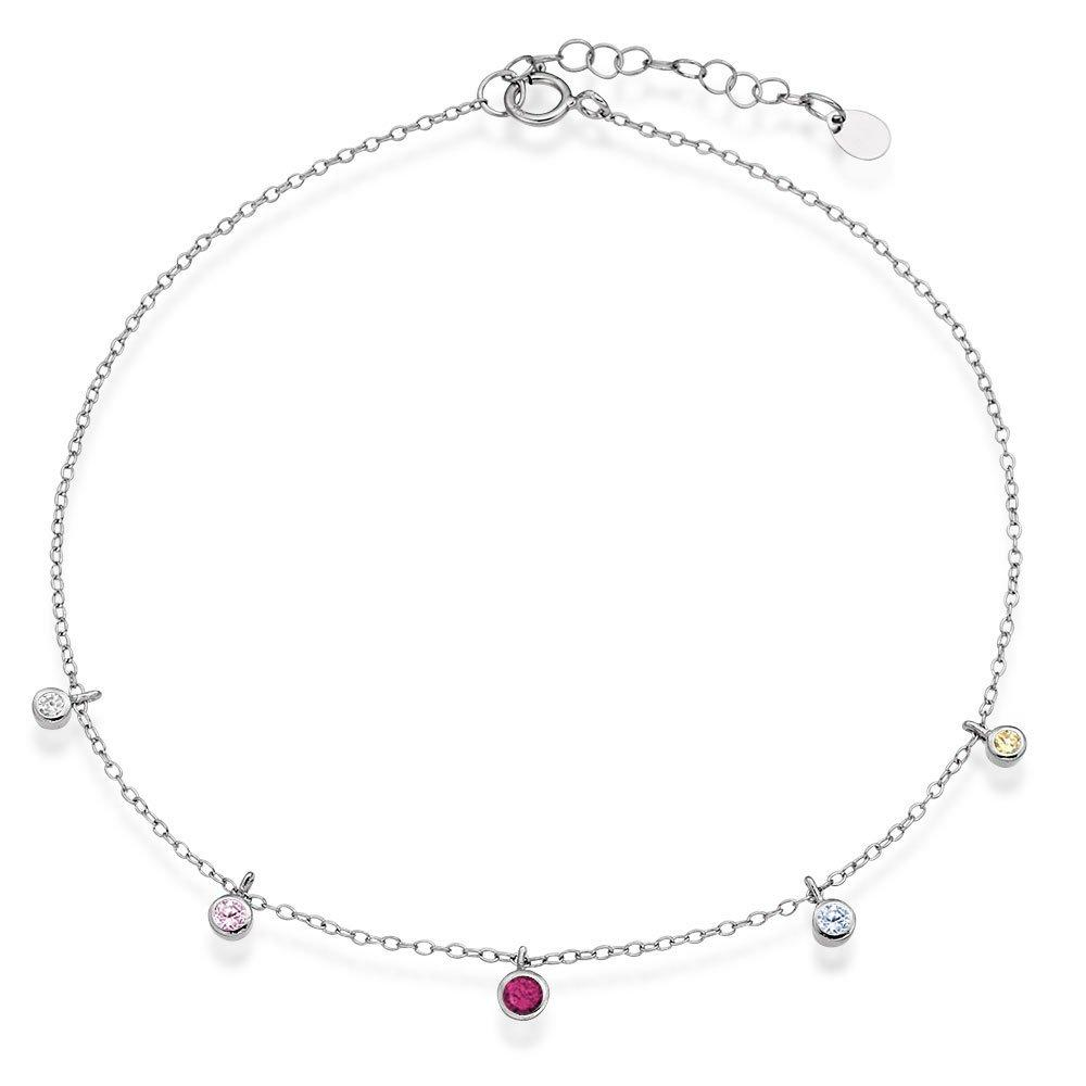 Silver Multicoloured Cubic Zirconia Drop Anklet
