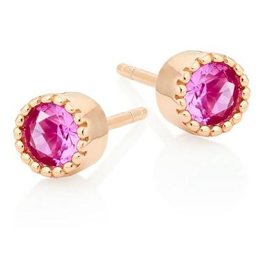 Rose Gold Plated Silver Pink Cubic Zirconia Stud Earrings