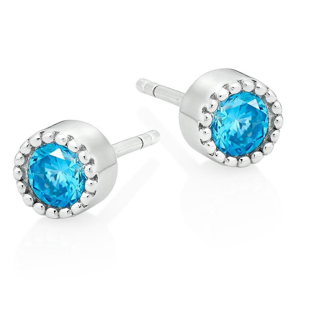 Silver Blue Cubic Zirconia Stud Earrings