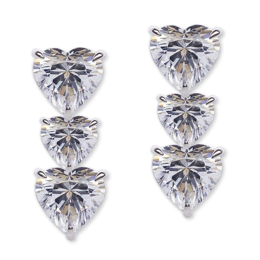CARAT Silver Trio of Hearts Drop Earrings