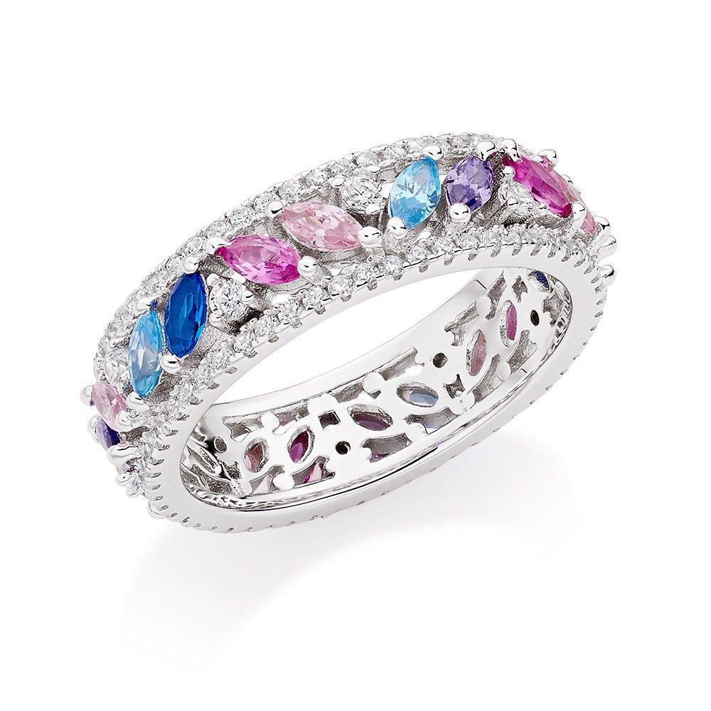 Silver Multi-Coloured Cubic Zirconia Ring