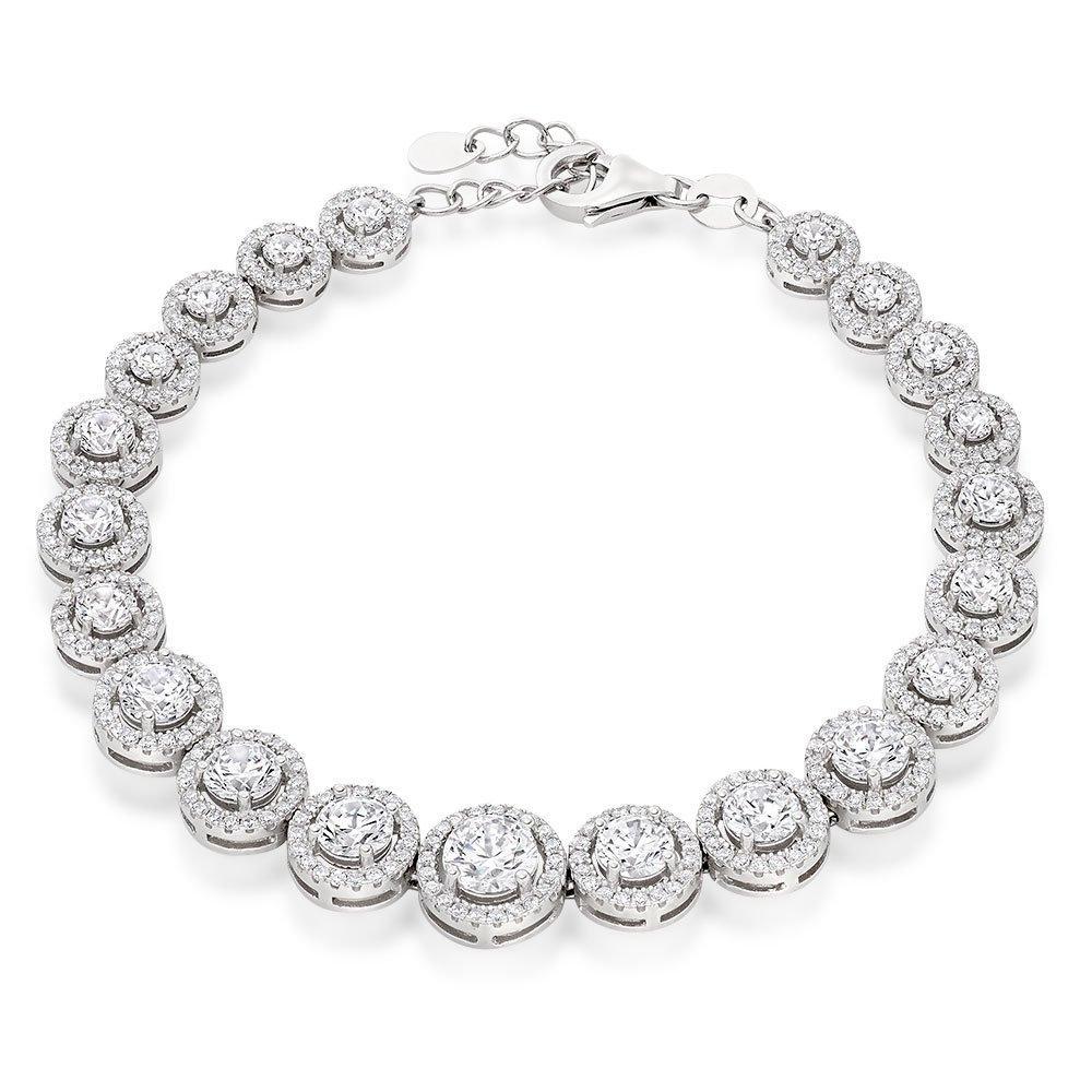 Silver Cubic Zirconia Graduated Halo Bracelet