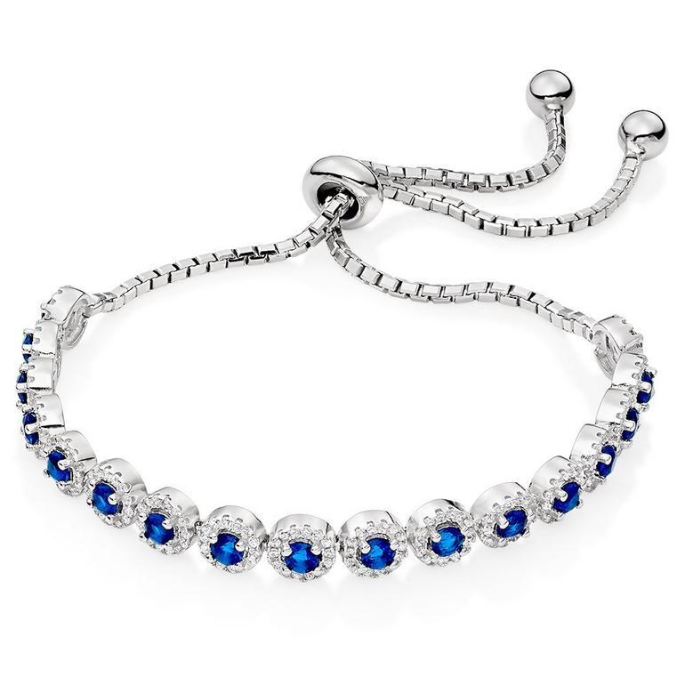 Silver Blue Cubic Zirconia Halo Slider Bracelet