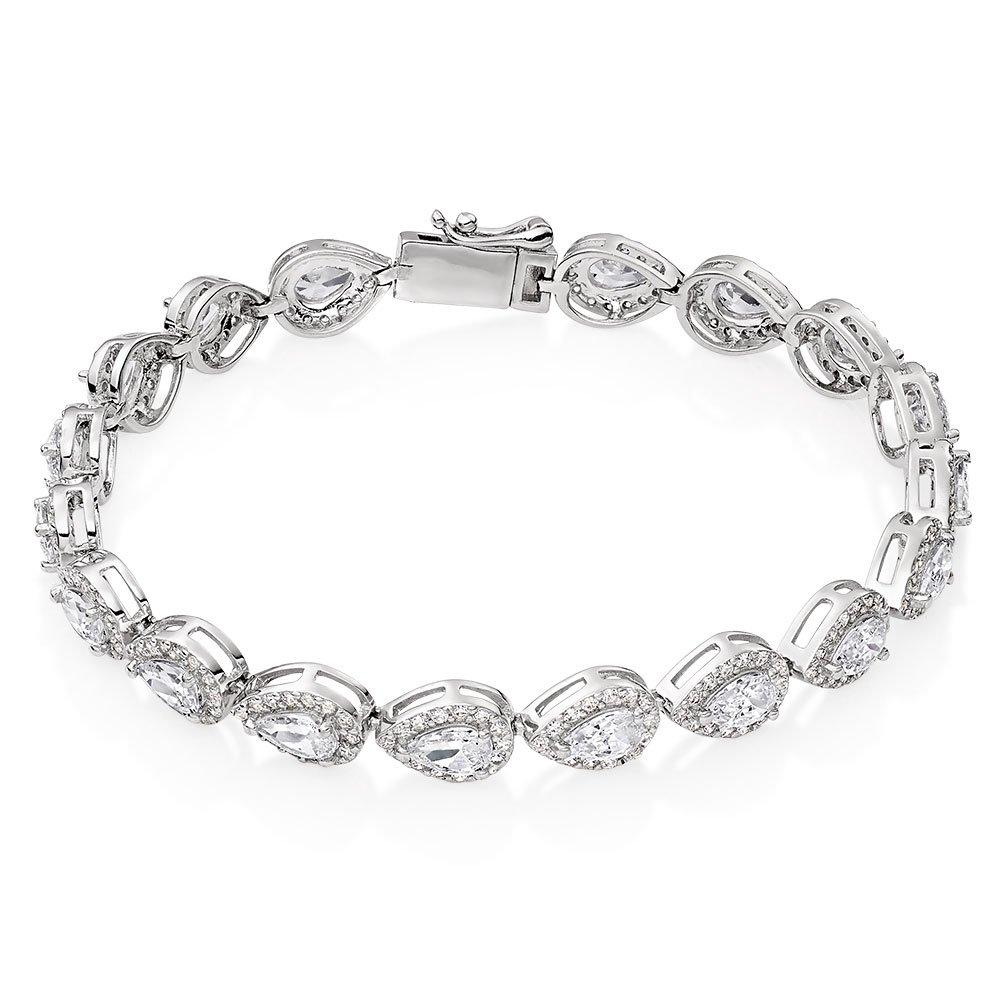 Silver Pear-Shaped Cubic Zirconia Halo Bracelet