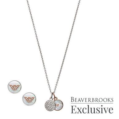 Emporio Armani Exclusive Crystal Pendant and Earrings Set