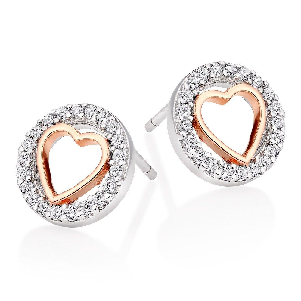 Silver And Rose Gold Plated Cubic Zirconia Heart Earrings