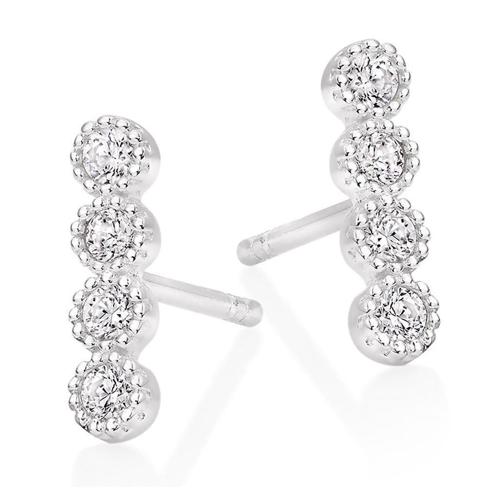 Silver Cubic Zirconia Bar Drop Earrings