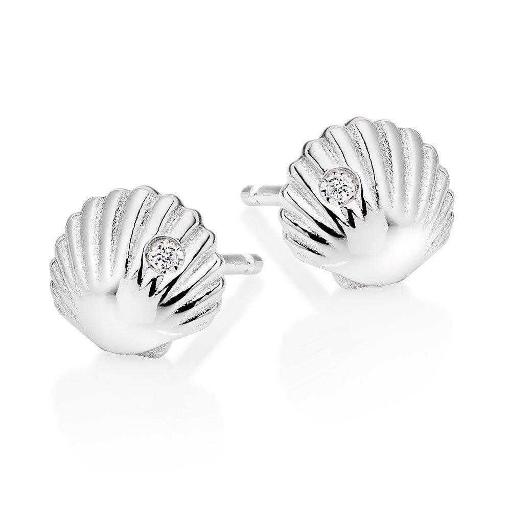 Silver Cubic Zirconia Shell Stud Earrings