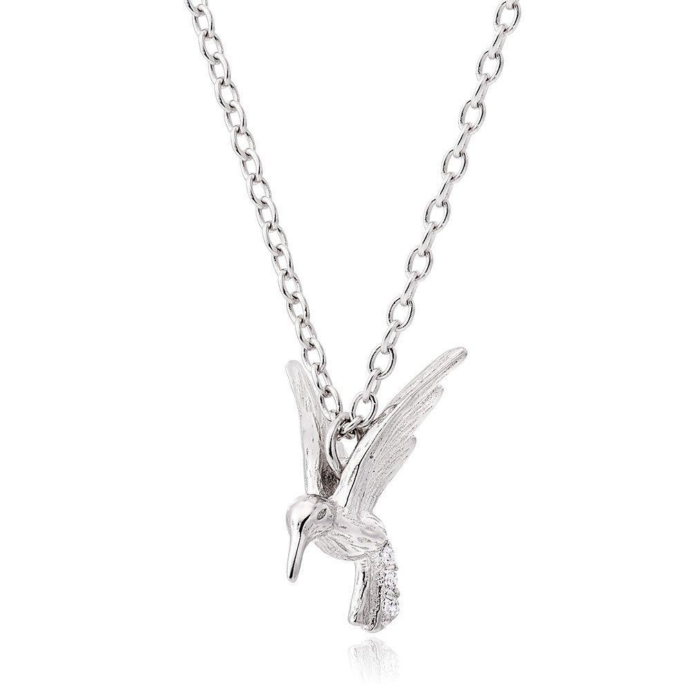 Silver Cubic Zirconia Hummingbird Necklace