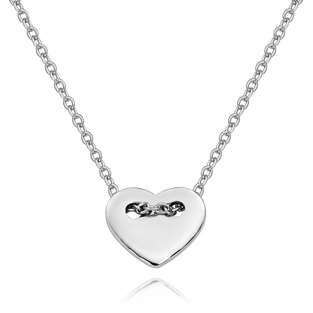 Silver Heart Button Necklace