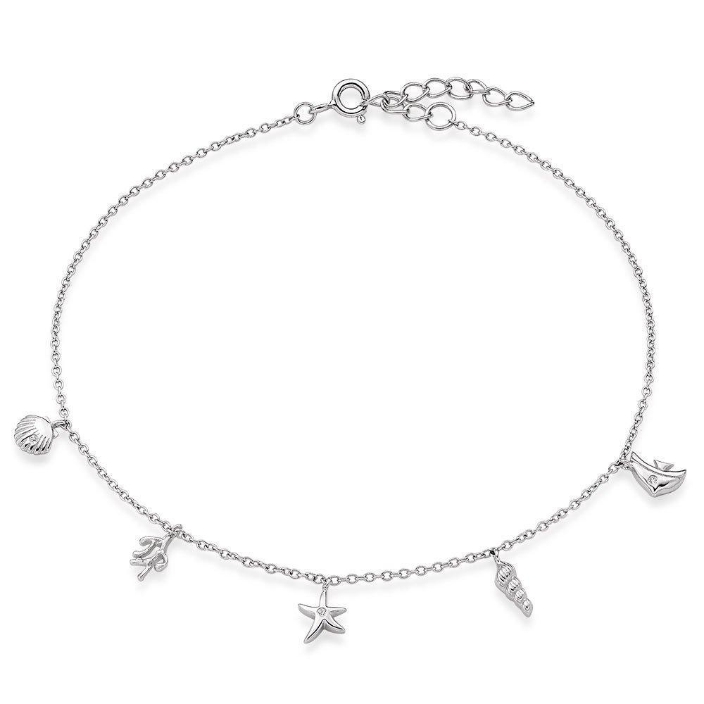 Silver Cubic Zirconia Seaside Anklet