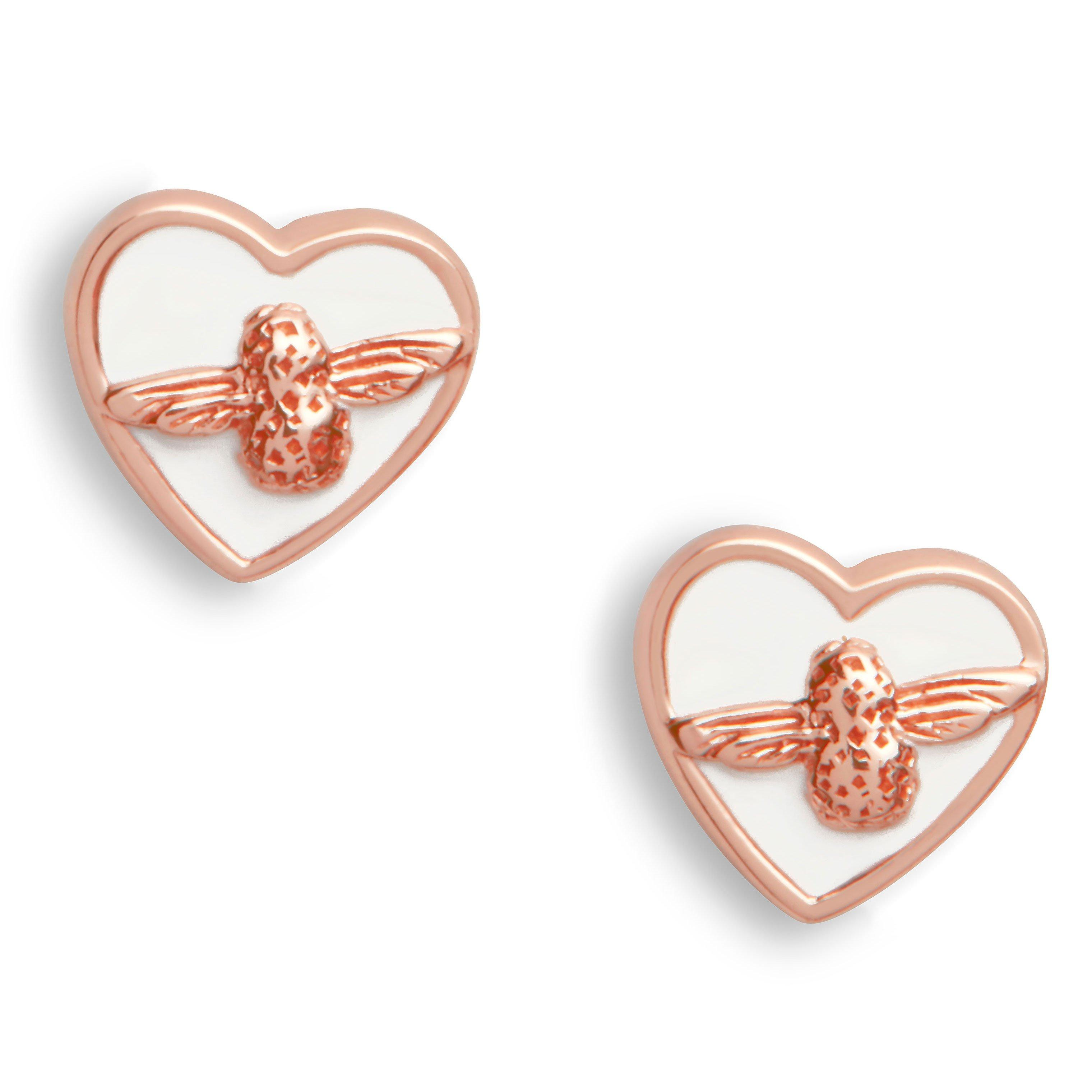 Olivia Burton Love Bug Rose Gold Plated Silver Stud Earrings