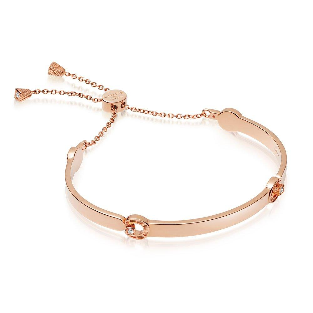 Links of London Ascot Rose 18ct Rose Gold Plated Silver Horseshoe Toggle Bracelet