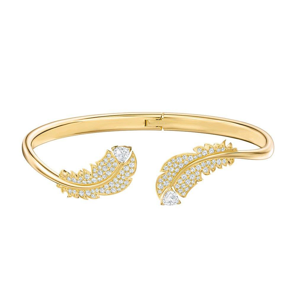 Swarovski Crystal Gold Tone Feather Bangle