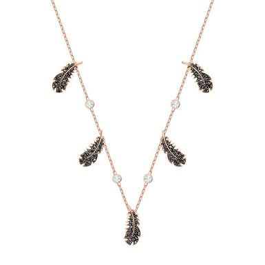 Swarovski Crystal Black and Rose Gold Tone Feather Choker