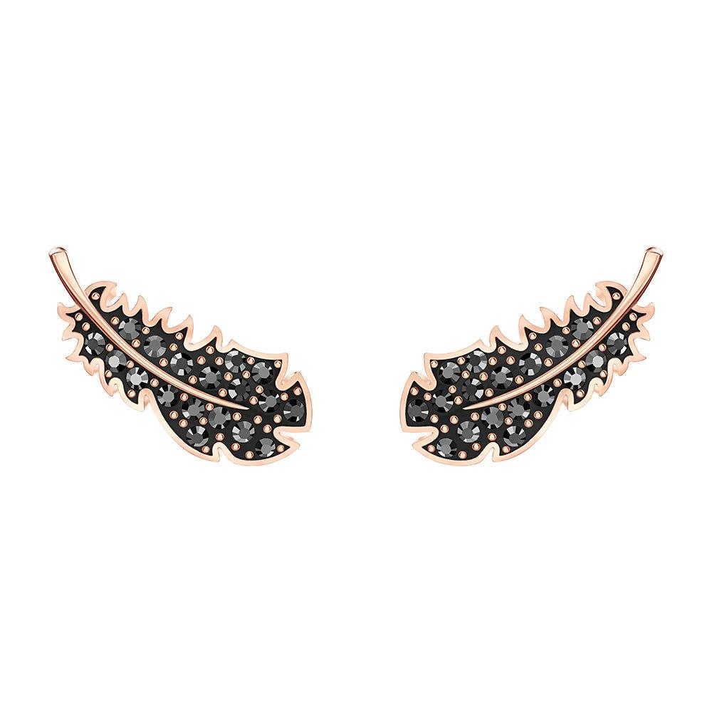 Swarovski Crystal Rose Gold Tone Feather Earrings