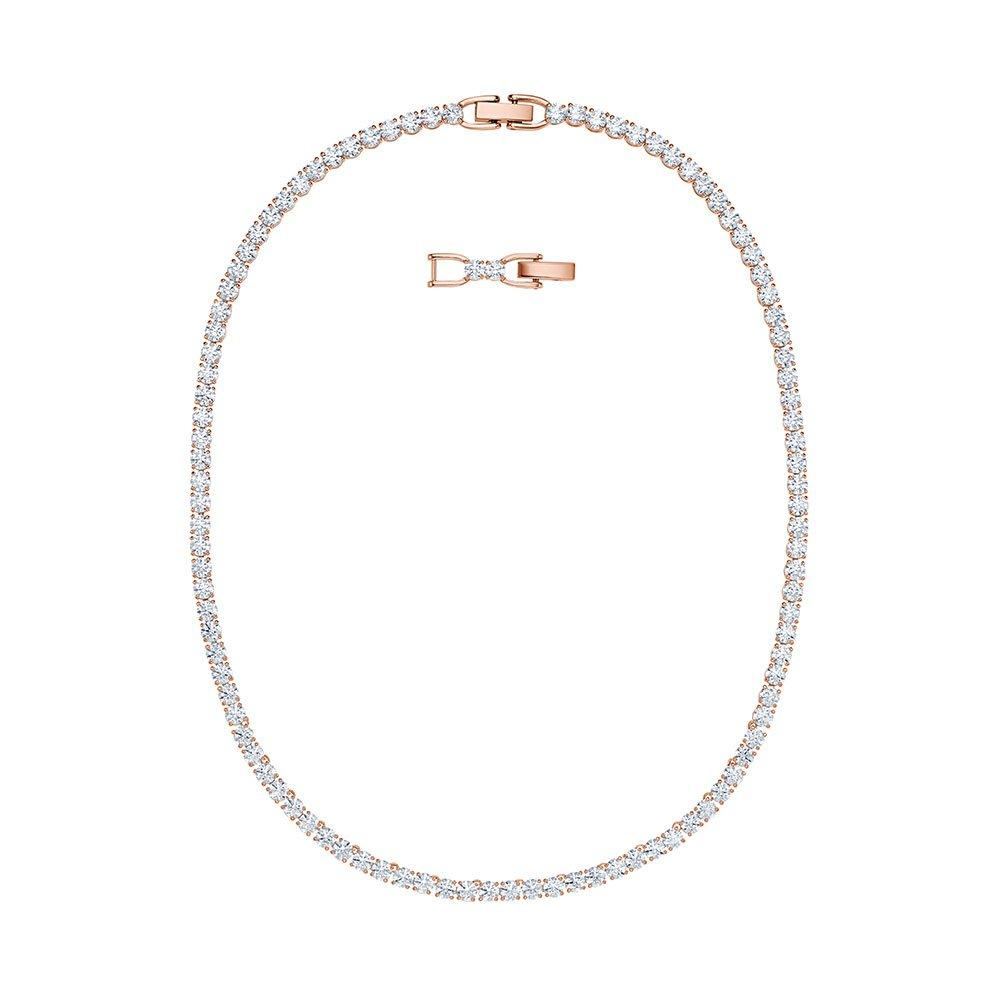 Swarovski Crystal Rose Gold Tone Tennis Necklace 0118588