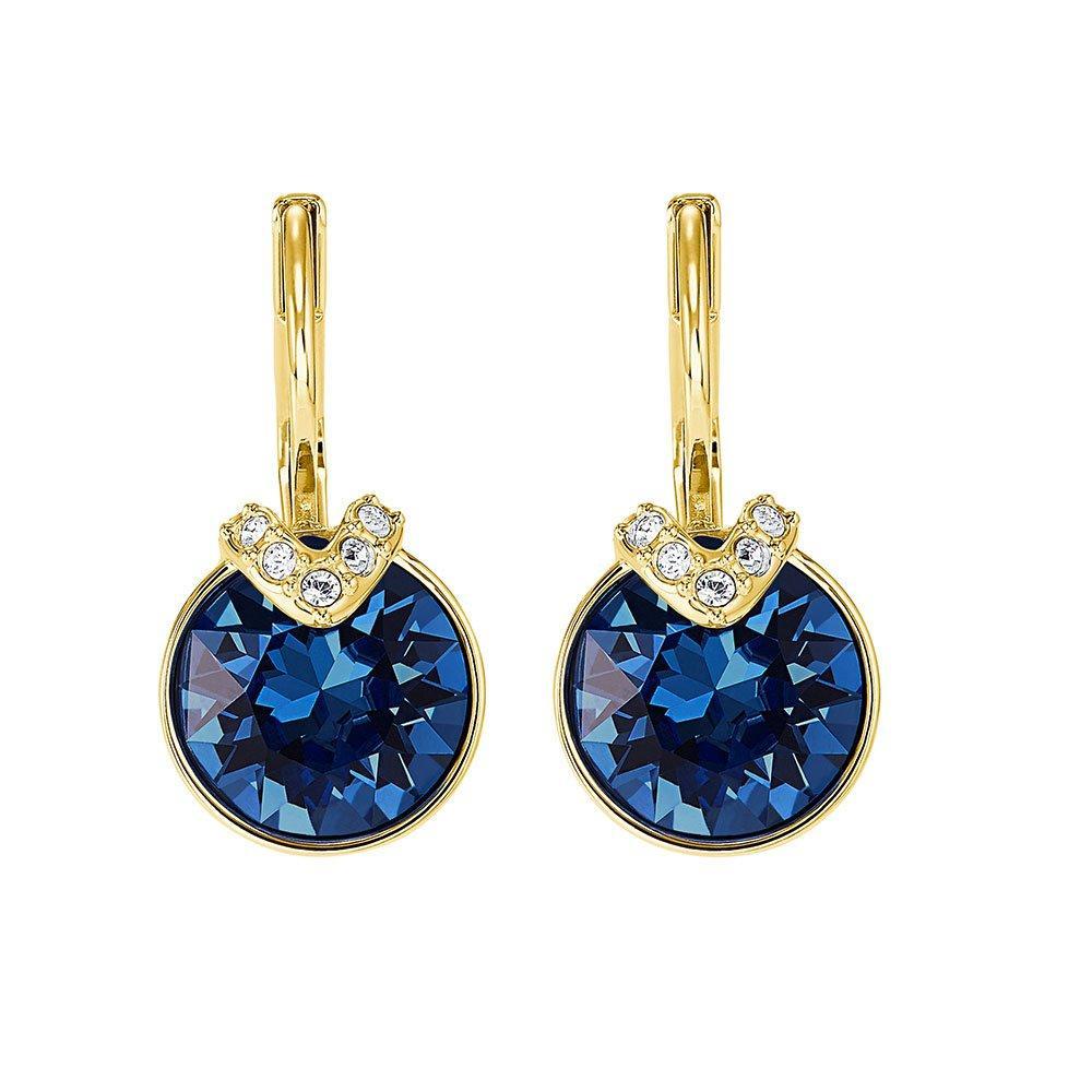 Swarovski Bella Blue Gold Tone Crystal Drop Earrings