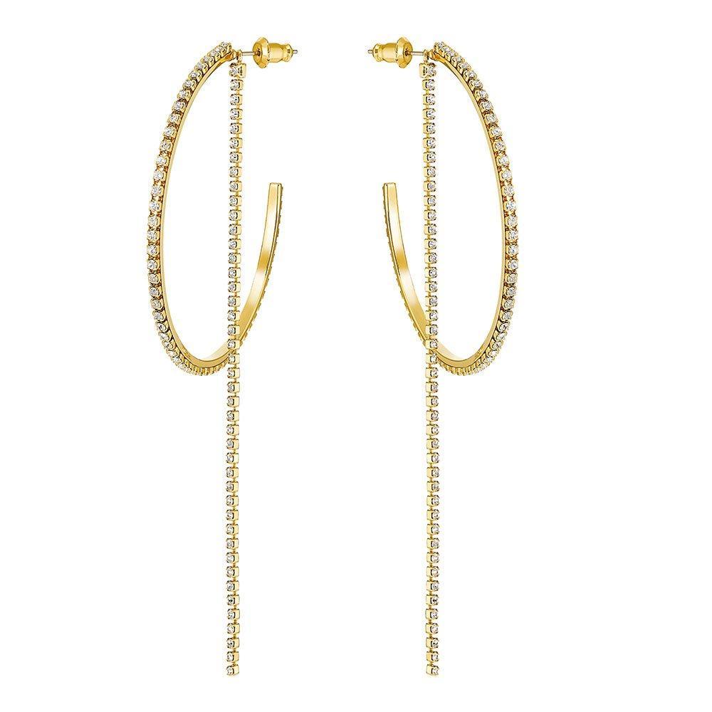Swarovski Fit Gold Tone Hoop Earrings