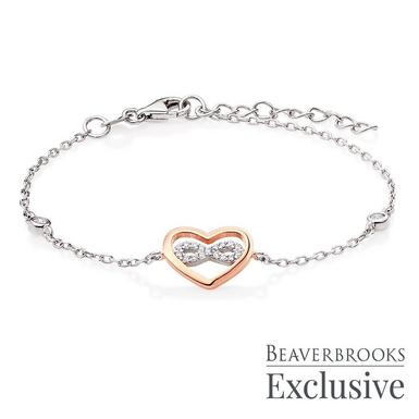 Silver Rose Gold Plated Cubic Zirconia Infinity Heart Bracelet