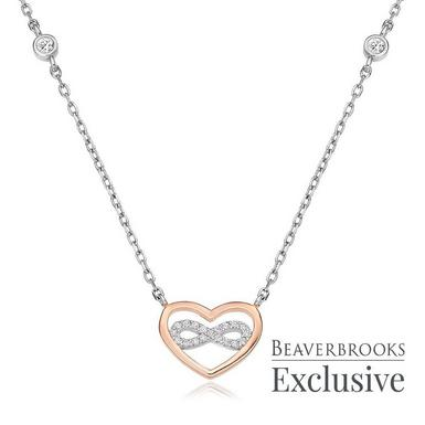 Silver Rose Gold Plated Cubic Zirconia Infinity Necklace