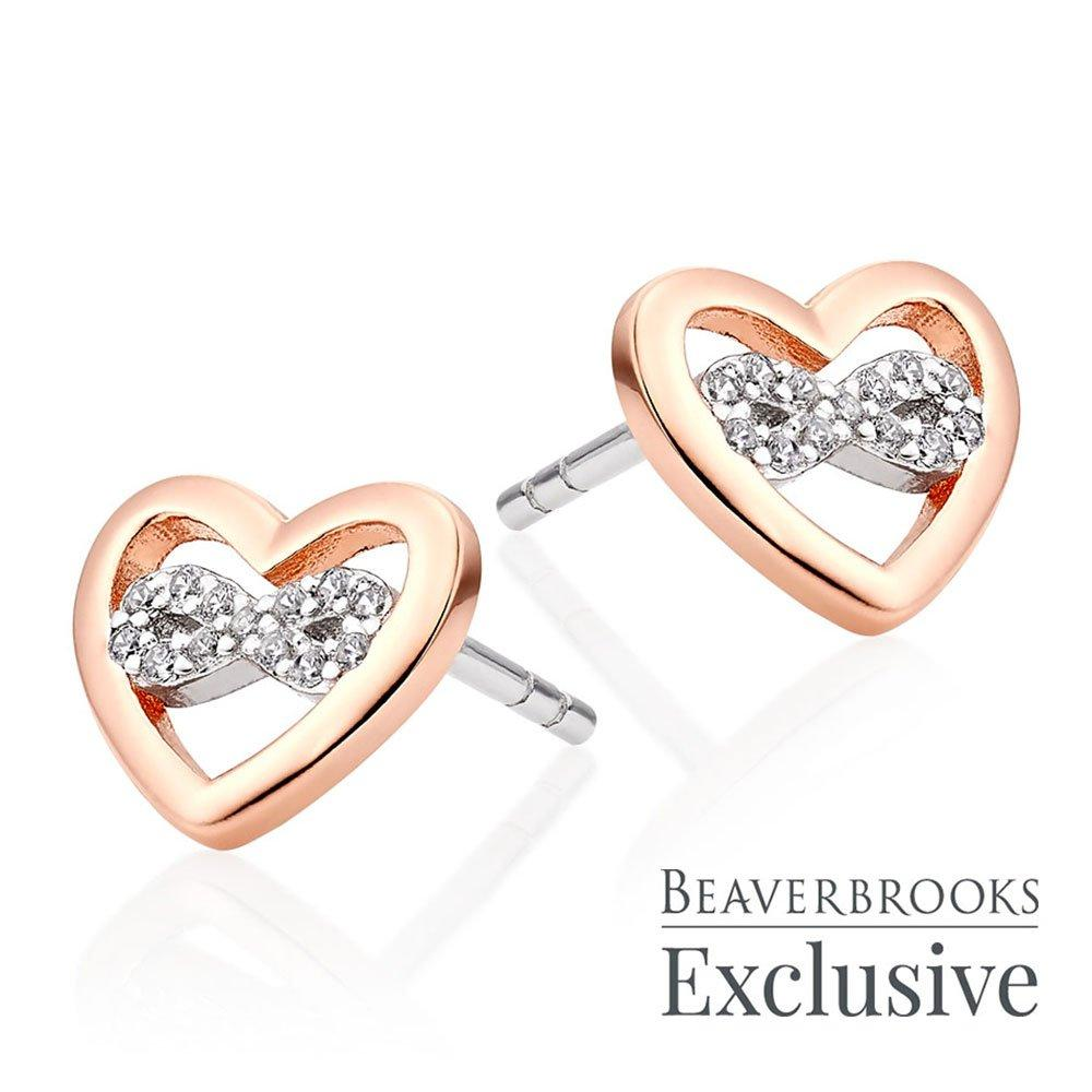Silver Rose Gold Plated Cubic Zirconia Infinity Heart Earrings