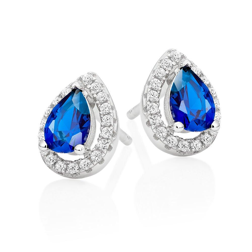Silver Cubic Zirconia Blue Halo Stud Earrings