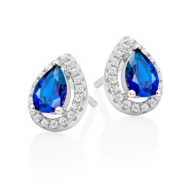 Silver Cubic Zirconia Blue Halo Stud Earrings