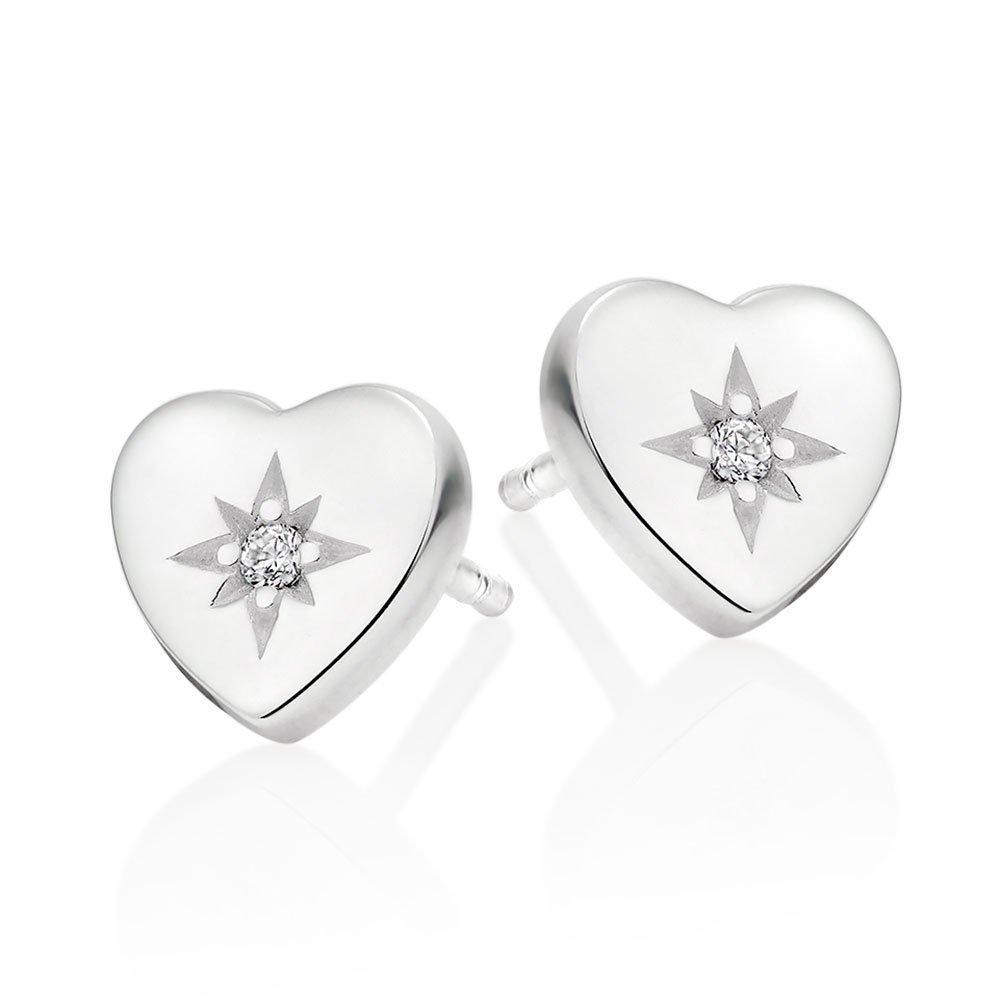 Silver Cubic Zirconia Heart Earrings
