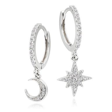 Silver Cubic Zirconia Moon Star Earrings