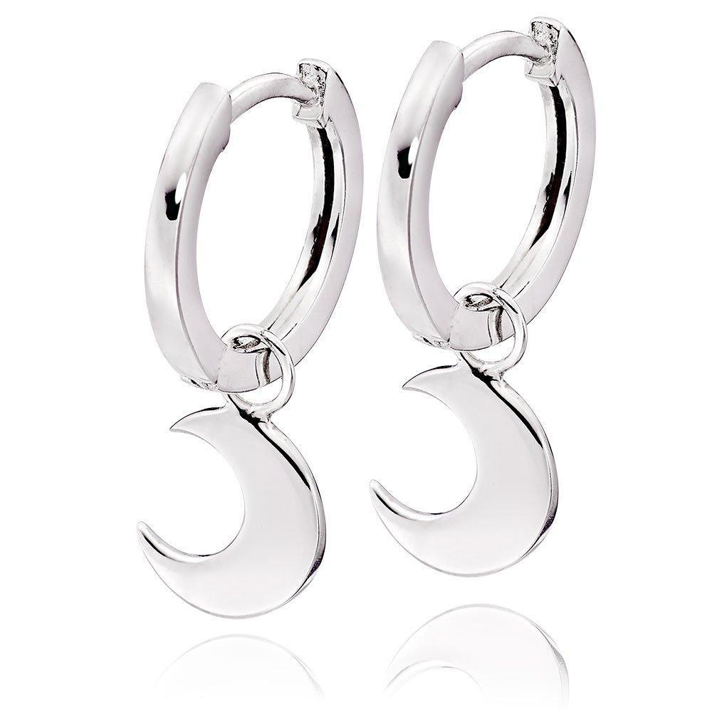 Silver Moon Charm Hoop Earrings