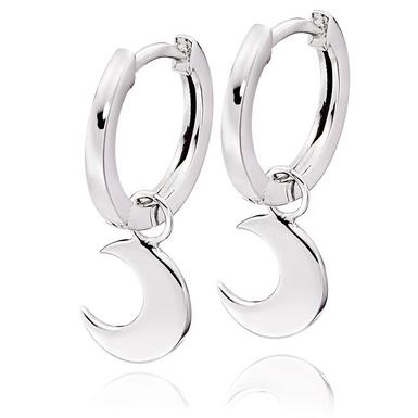 Silver Moon Charm Hoop Earrings