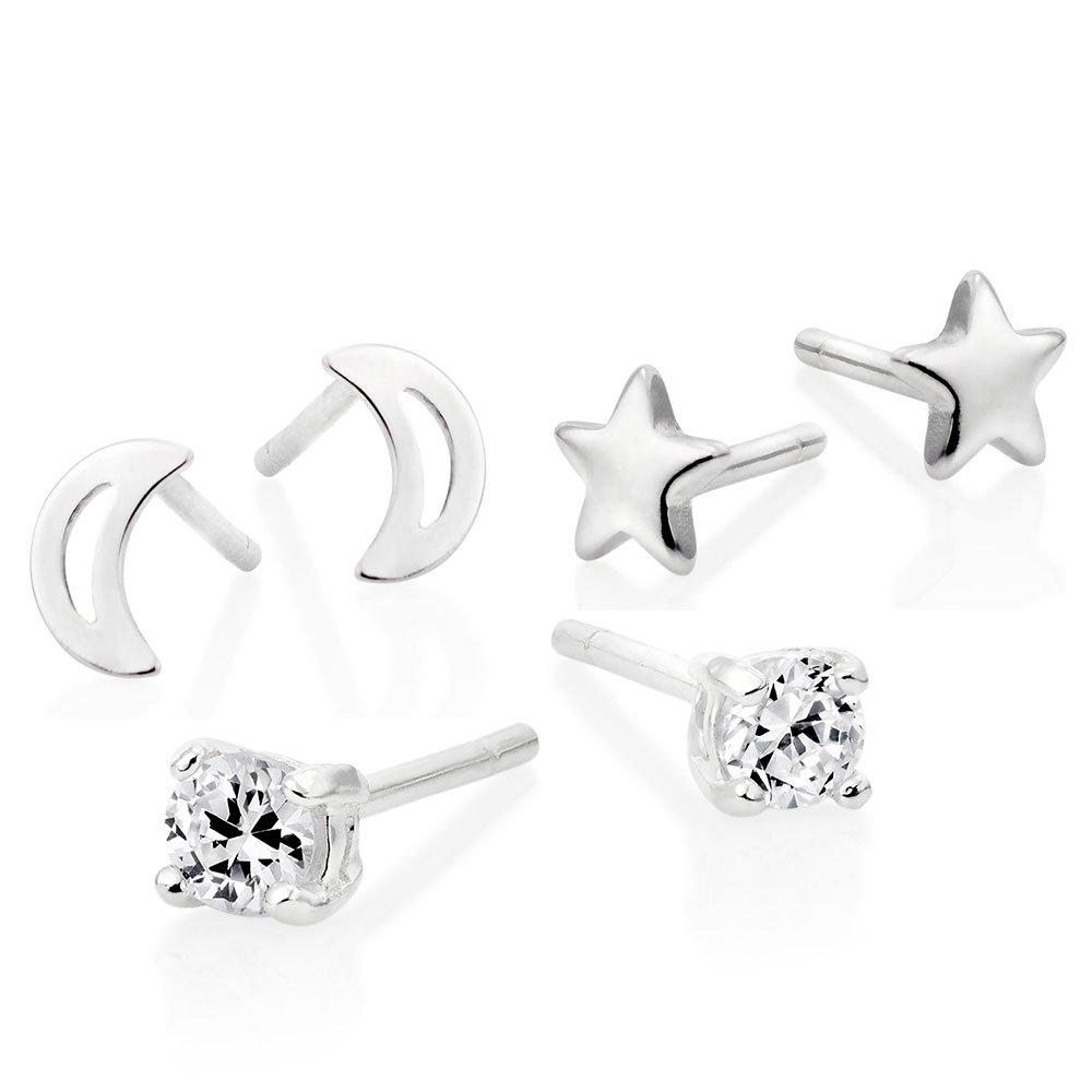 Silver Cubic Zirconia Moon and Star Earrings Set