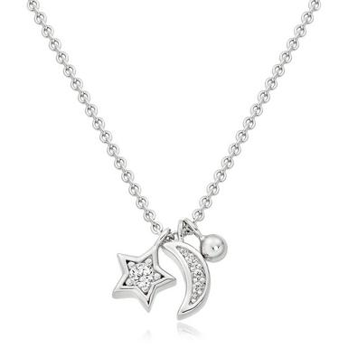Silver Cubic Zirconia Moon And Star Necklace